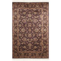 Chinese Hand-knotted Royal Kerman Purple/ Purple Wool Rug (4' x 6')