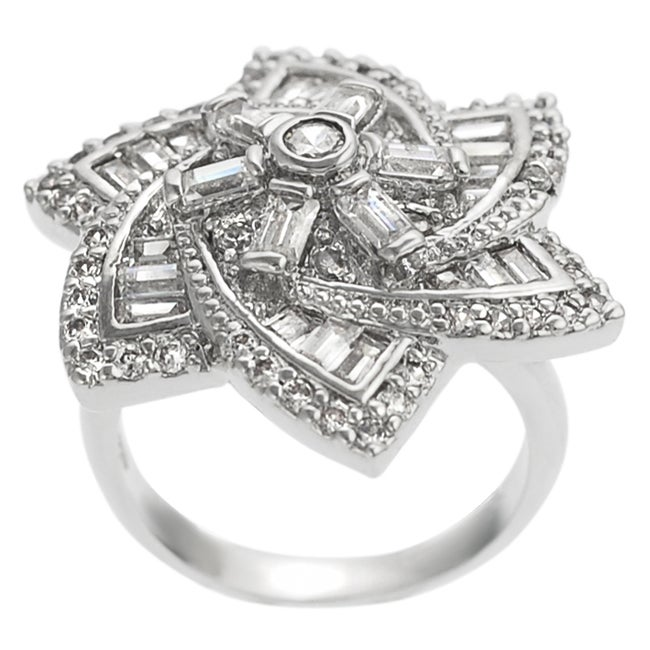 Journee Silvertone Cubic Zirconia Flower Ring