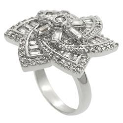 Journee Silvertone Cubic Zirconia Flower Ring