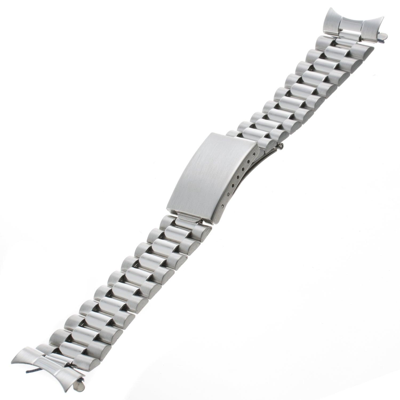 Republic Men's Straight/ Curved Silver-tone Watch Bracelet
