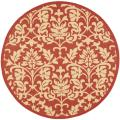 Red/ Natural Indoor Outdoor Rug (5&#39;3 Round)
