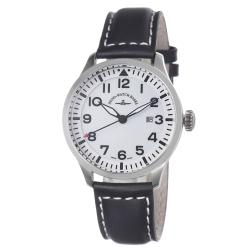 Zeno Men's 'Navigator' White Dial Black Leather Strap Quartz Watch