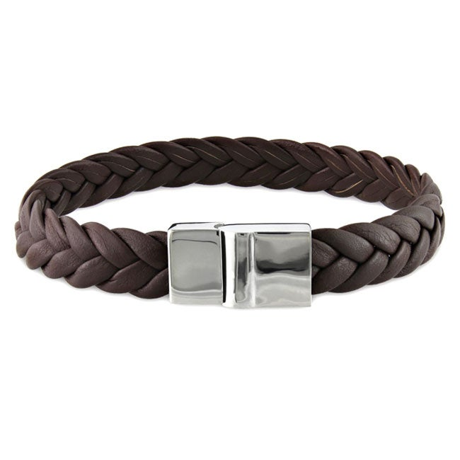 Miadora Stainless Steel and Braided Leather Bracelet