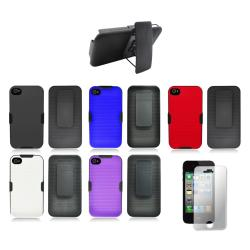 Apple iPhone 4/4S Rubberized Case with Kickstand Belt Clip and Screen Guard