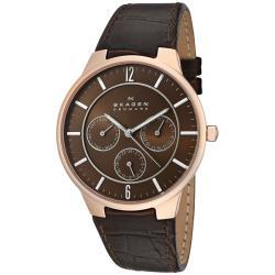 Skagen Men's Brown Dial Brown Leather Watch