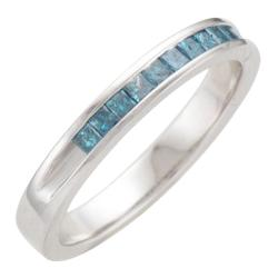 Sterling Silver 1/3ct TDW Treated Blue Diamond Band