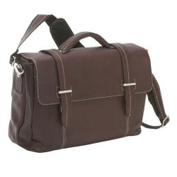 The Manchester Flap-Over Leather Laptop Computer Briefcase with Removable Sleeve