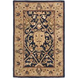 Handmade Mahal Blue/ Gold New Zealand Wool Rug (2' x 3')