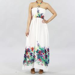 Meetu Magic Women's White Floral Cotton Beaded Halter Maxi Dress | Overstock.com