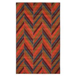 Indoor/ Outdoor Herringbone Multi Rug (5' x 8')
