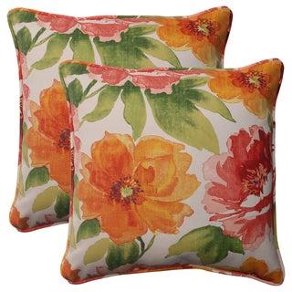 Pillow Perfect Orange Outdoor Primro Corded 18.5-inch Throw Pillow (Set of 2)