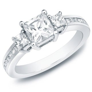 Auriya 14k Gold 1 1/2ct TDW Certified Diamond Engagement Ring (H-I, SI1-SI2)