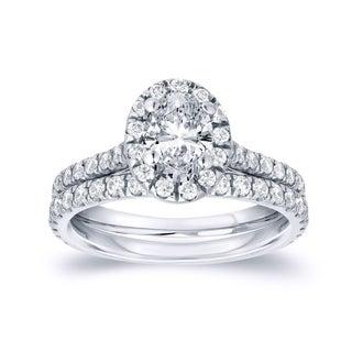 Auriya 14k Gold 1ct TDW Oval Diamond Halo Bridal Ring Set (H-I, SI1-SI2)