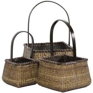 Rattan Square Handle Basket Set (China)