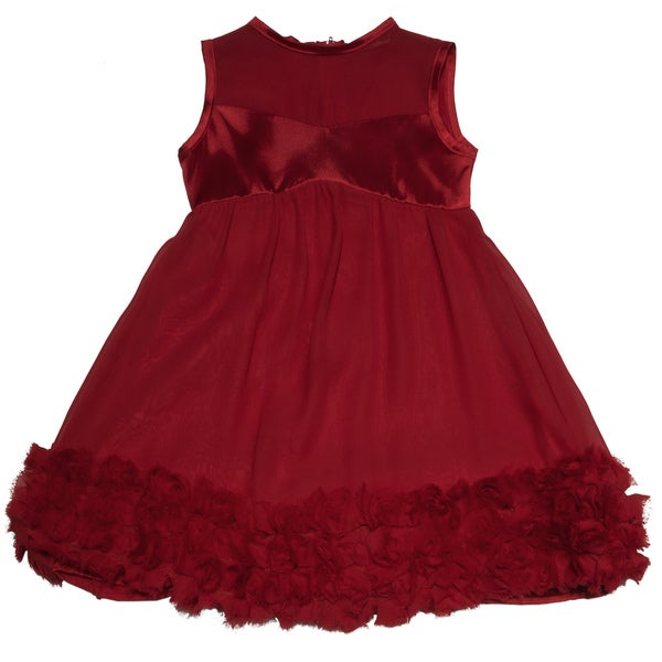 Paulinie Collection Girl's Red Rosette Dress