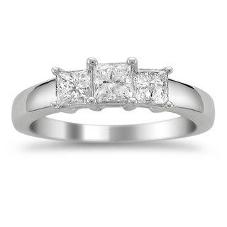 Platinum 1ct TDW Princess-cut Diamond 3-stone Ring (G-H, VS1-VS2)