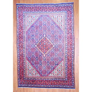 Persian Hand-knotted Mahal Navy/ Red Wool Rug (9'3 x 13'7)