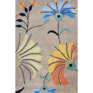 Indo Hand-tufted Light Brown/ Black Wool Rug (4' x 6')