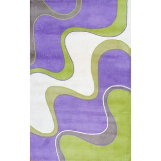 Indo Hand-tufted Lavender/ Green Wool Rug (5' x 8')