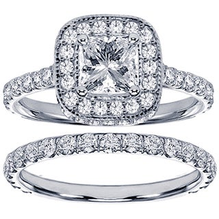 14k White Gold 2 2/5ct TDW Diamond Bridal Ring Set (F-G, SI1-SI2)