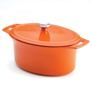 Rachael Ray Orange Cast Iron 6.5-Quart Covered Oval Casserole
