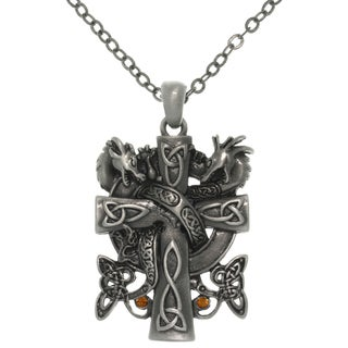 CGC Pewter Alloy Celtic Dragon Cross Necklace