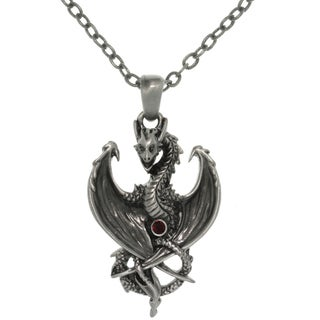CGC Pewter Alloy Dragon with Red Crystal Pendant Necklace