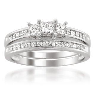 Platinum 1 1/2ct TDW Diamond 3-stone Bridal Ring Set (H-I, I1-I2)