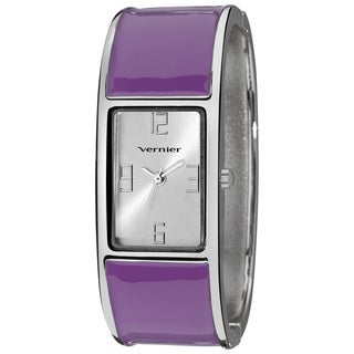Vernier Ladies Colorful Block Purple Bangle Fashion Watch