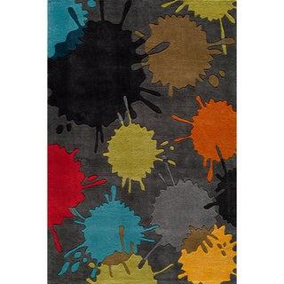 Momeni Hand-tufted 'Lil' Mo Hipster' Grey Splash Area Rug (8' x 10')