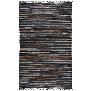 Hand-woven Matador Brown Leather Rug (9' x 12')