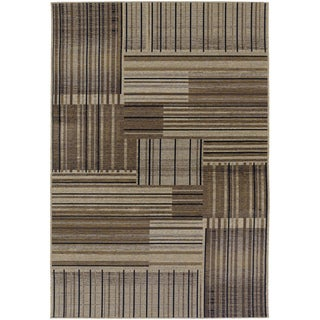Power Loomed Dolce Trattoria Beige/ Black Area Rug (7'10 x 10'9)
