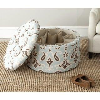 Safavieh Tanisha Cyan Blue Shoe Storage Ottoman