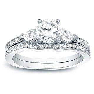 Auriya 14k Gold 1ct TDW Certified Diamond Bridal Set (H-I, SI1-SI2)