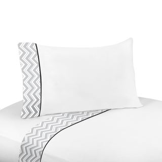Sweet JoJo Designs 200 Thread Count Black and Grey Zig Zag Sheet Set