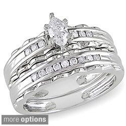 Miadora 10k Gold 2/5ct TDW Diamond Bridal Ring Set (G-H, I1-I2)
