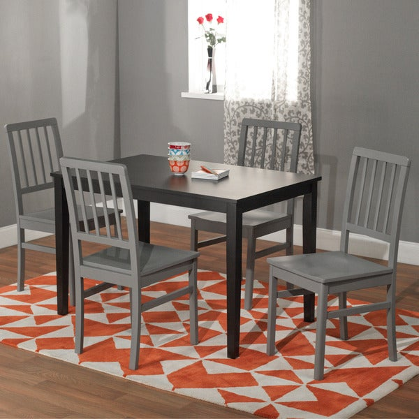 Simple Living Black And White Dining Set 3 Piece: Simple Living Black And Grey 'Camden' 5-piece Contemporary