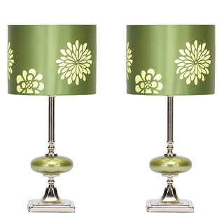 Casa Cortes Lush Green Contemporary Floral Small Table Lamps (Set of 2)