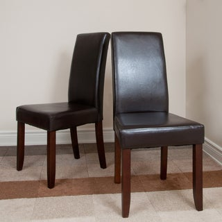 Normandy Brown Faux Leather Parson Chairs (Set of 2)