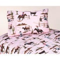 Sweet JoJo Designs 200 Thread Count Cowgirl Horse Print Western Cowgirl Bedding Collection Cotton Sheet Set