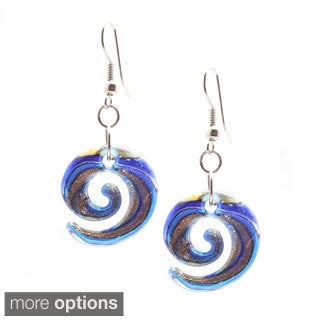 Murano-Inspired Glass Lollipop Curl Earrings