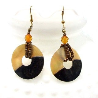 Sweet Circle Natural Brown Lip Shells Dangle Earrings (Philippines)