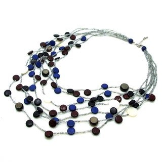 Coco Palm Wood Circle Cascade Shell Multistrand Necklace (Philippines)