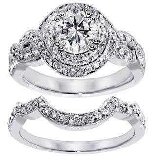 14k White Gold 2ct TDW Clarity Enhanced Diamond Halo Bridal Ring Set (F-G, SI1-SI2)