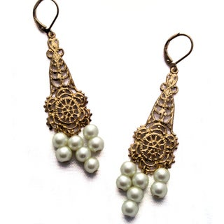 Gold Filigree and Pearl Chandalier Earrings