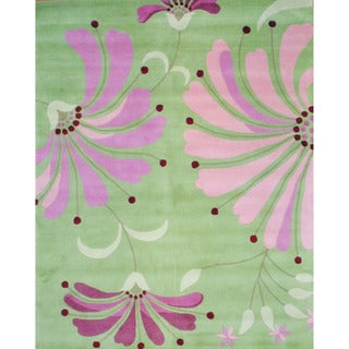 Indo Hand-tufted Light Green/ Pink Wool Rug (8' x 10')