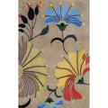 Indo Hand-tufted Beige/ Light Blue Wool Rug (4' x 6')