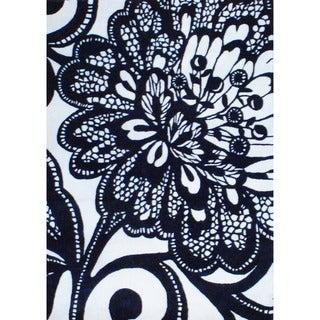 Indo Hand-tufted Black/ Ivory Wool Rug (4' x 5'9'')