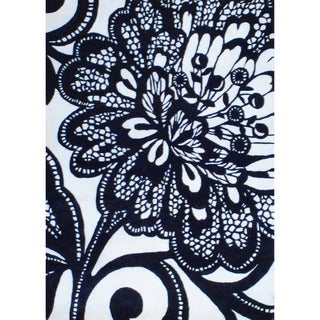 """Contemporary Indo Hand-Tufted Black/Ivory Wool Rug (6'9"""" x 9'9"""")"""