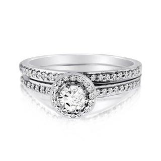10k White Gold 1/2ct TDW Diamond Round-cut Bridal Ring Set (H-I, I1-I2)